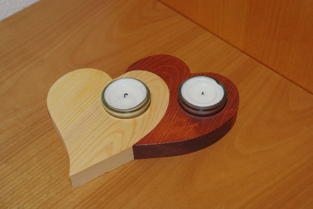 """Kerzenständer - Teelichthalter aus Holz """"Herzduo"""" - ein Designerstück von Andreas-KreativWelt bei DaWanda"""