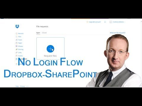 *Let A Flow Copy Requested Dropbox Files To SharePoint* Business scenario flow with anonymous form submission to Dropbox, from where files are copied to SharePoint:  http://www.kalmstrom.com/Tips/Office-365-Course/Flow-Dropbox-SharePoint.htm