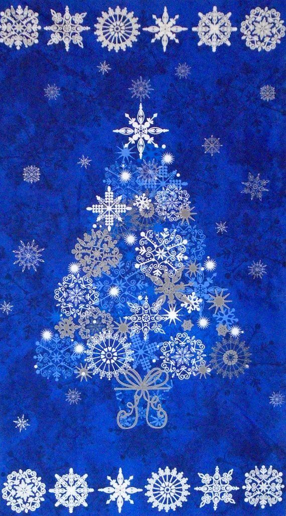 Christmas Tree Quilt Fabric Panel ~ STONEHENGE STARRY NIGHT ~ Northcott  Blue & Silver Christmas Tree ~ 100% Cotton Fabric (#93A) - Christmas Tree Quilt Fabric Panel ~ STONEHENGE STARRY NIGHT