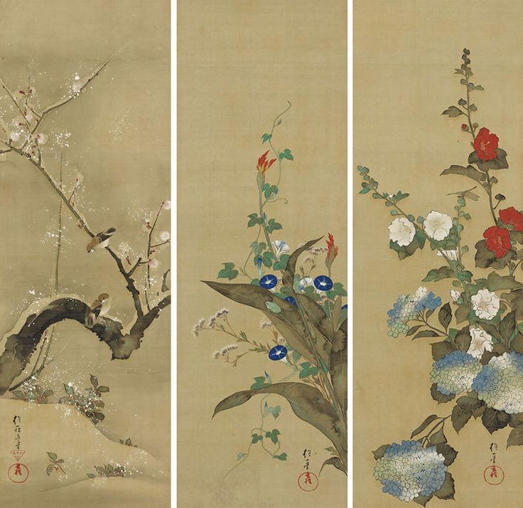 『十二ヶ月花鳥図』 酒井抱一 (左から十二月、七月、五月)