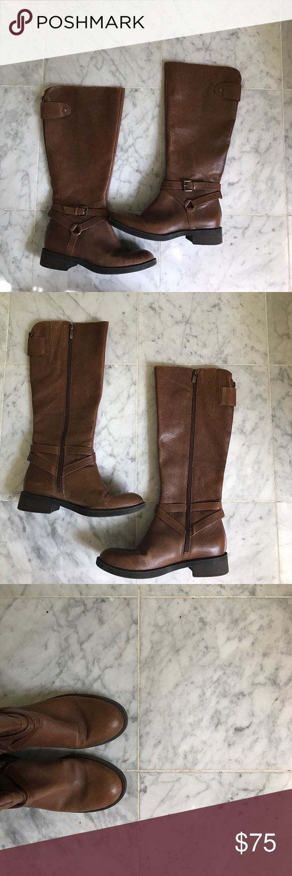 Enzo Angiolini Tall Brown Boots This twice worn pair of caramel/light brown tall Enzo Angiolini boots have two fashionable buckles at base of boot and one flap at top of boot, covering the zipper strip in back of boot. These boots have a convenient zipper lining the side of the calf allowing for a easy and comfortable fit. These shoes are great for both casual and nice events depending on what they are paired with, and work in Fall, Winter, and Spring! Enzo Angiolini Shoes