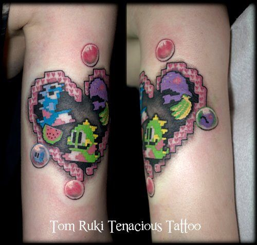Puzzle Bubble Bobble Tattoo. Video Game Tattoo