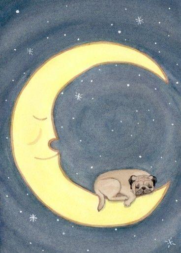 Pug Dog Drawings | Pug Dog Sleeping on Moon / Lynch signed folk art print
