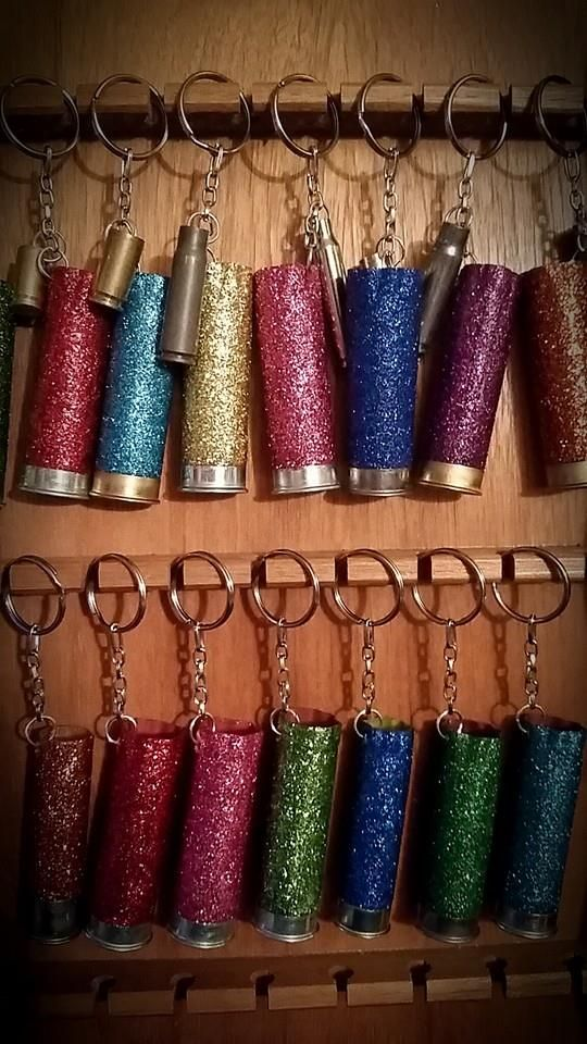Bullets & Bling Shotgun Shell Sparkle Keychains Right now they are $6 or 3 for $15 www.facebook.com/brandedcowgirl