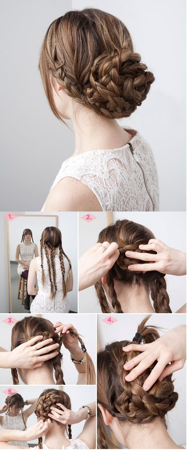 Fancy Braided Updo Hairstyle for Thick Hair - This would look fabulous with Lilla Rose You Pins!!!