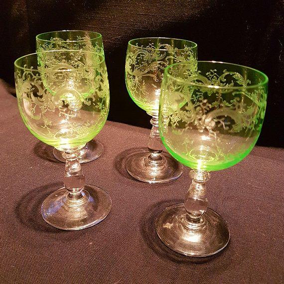 Green Depression Glass Engraved Wine Glasses (1930's)