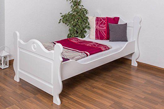 Lit simple / d'ami bois du pin massif laqué en blanc 91, incl. sommier à lattes - Dimensions: 90 x 200 cm
