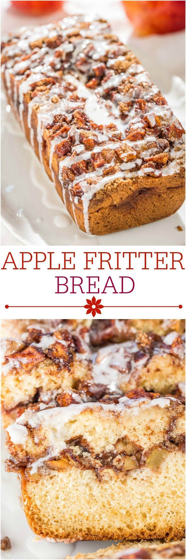 Apple Fritter Bread - Soft, fluffy bread that's stuffed AND topped with apples, cinnamon, and sugar!! Like apple fritters in bread form!! Best apple bread EVER!