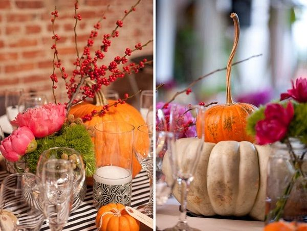 Pumpkin table decor with mixed white and orange pumpkins looks beautiful for an autumn or Halloween wedding.