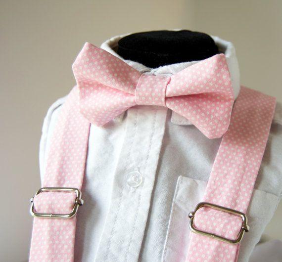Pink Polka Dot Bow Tie & Suspenders Set -Pink Pin Dot - Baby Toddler Child Boys - Wedding