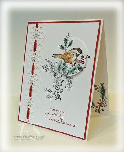 by Fran ... stampsblog.franticstampers.com: Birds Cards, Birds Stamps, Bird Cards, Cards Christmas, Cards Etc, Spotlight Techniques, Beautiful Seasons, Handmade Christmas Cards, Cards Su