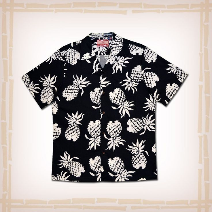 """FREE SHIPPING – EVERY ORDER, EVERY DAY! RJC Hawaiian Shirt """"Pineapples"""" – Black  RJC's contribution to the retro / vintage Hawaiian shirt reproduction craze. This design was featured in the film """"From Here to Eternity"""" worn by actor Ernest Borgnine. The design was also made famous in the 1940's by actor Tony Curtis. Coconut shell buttons and matching print engineered chest pocket.  100% Cotton, Made In Hawaii http://hawaiianshirtdude.com/product/rjc-hawaiian-shirt-pineapples-black/"""