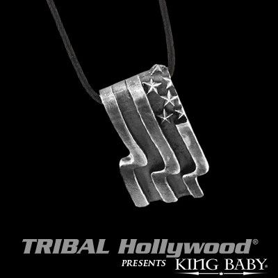 AMERICAN US FLAG Sterling Silver Mens Pendant Necklace by King Baby