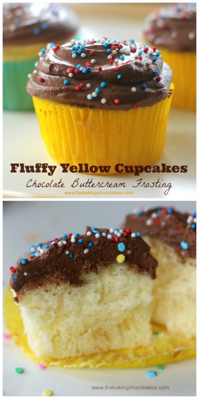 Fluffy Yellow Cupcakes with Chocolate Buttercream Frosting ...