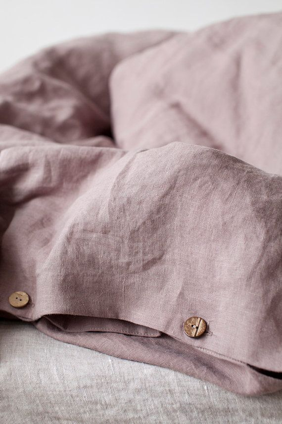 Ashes of Roses Stone Washed Linen Duvet Cover by LinenTalesInBed