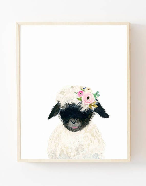 Print Cute Little Flower Crown Black Lamb Lets Make Your Little Ones Room Warm And Enjoyable This Is A Print Of My O Baby Lamb Print Sheep Art Crown Painting