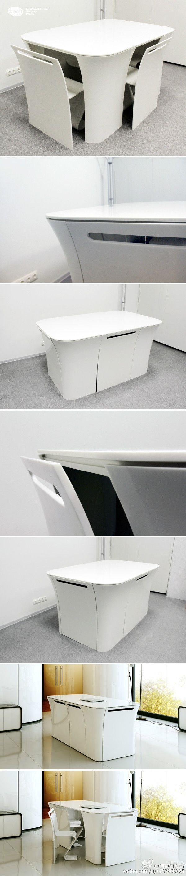 2&2餐桌,无缝拼合节省了座椅空间