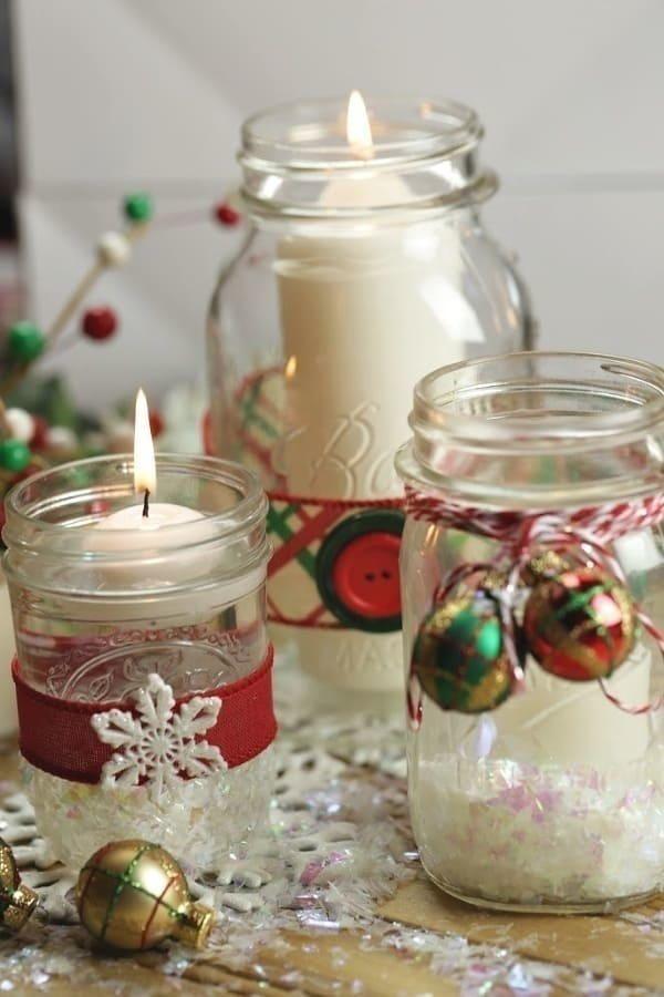 Mason Jar Christmas Candles Mason Jar Candles Christmas Christmas Jars Christmas Candle Decorations