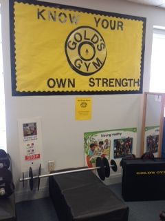 Pretend and Learn turned into a Gold's gym!  (Danielle Clark's PK class Austin ISD- Fountain Plaza)