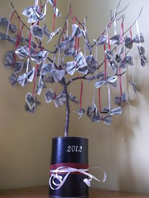 Money Tree - we did this for my Dad's 80th birthday- $80 of ones...could tie on $ or gift cards.