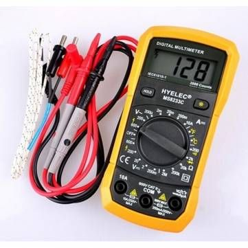 HYELEC MS8233C Multifunction Mini Digital Multimeter With Buzzer DMM AC DC Temperature Test Back Light Multimeter Ammeter Multitester