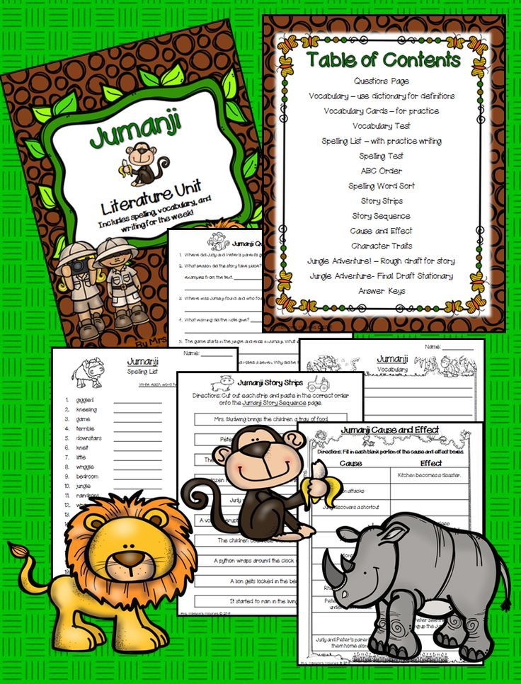 Chris Van Allsburg's Jumanji! This cute literature unit helps teach cause and effect, sequencing, and vocabulary.  https://www.teacherspayteachers.com/Product/Jumanji-Literature-Study-and-Activities-2003446
