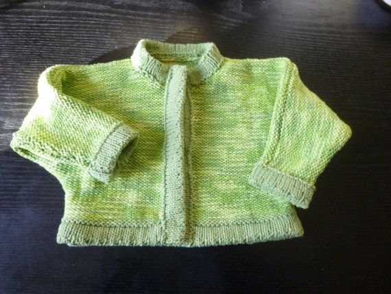 Hand made hand knit baby multi coloured  cardigan by BulldogKnits