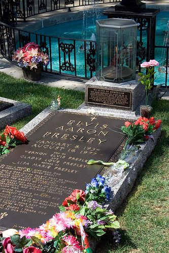 Elvis Presley: Died of heart disease at 42. Buried at Graceland, Memphis, TN