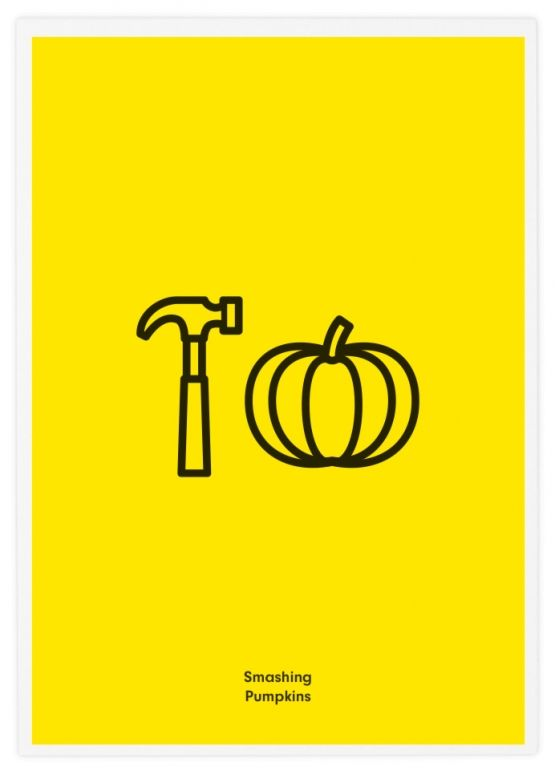 "Smashing Pumpkins poster. I didn't actually get it until I read ""Smashing Pumpkins."" The simplistic design of this logo is creative and in-your-face, but if the hammer was actually smashing the pumpkin, it would make a lot more sense instead of just ""Hammer Pumpkin."""