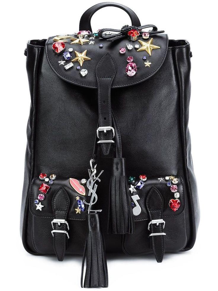 NWT YSL Yves Saint Laurent Festival Small Embellished Black Leather Backpack Bag #SaintLaurent #Backpack