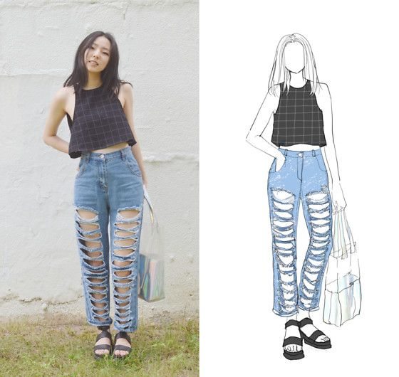 Yona L - American Apparel Lulu Black Grid Tank, Stylewe High Waist Distressed Boyfriend Jeans, Ebay Clear Pvc Holographic Tote Bag, Boohoo Cleated Platform Sandals - Ripped jeans b slayin with stylewe