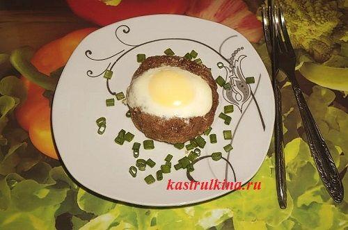 Мясные гнезда с яйцом, запеченные в духовке. Интересная альтернатива котлетам :)