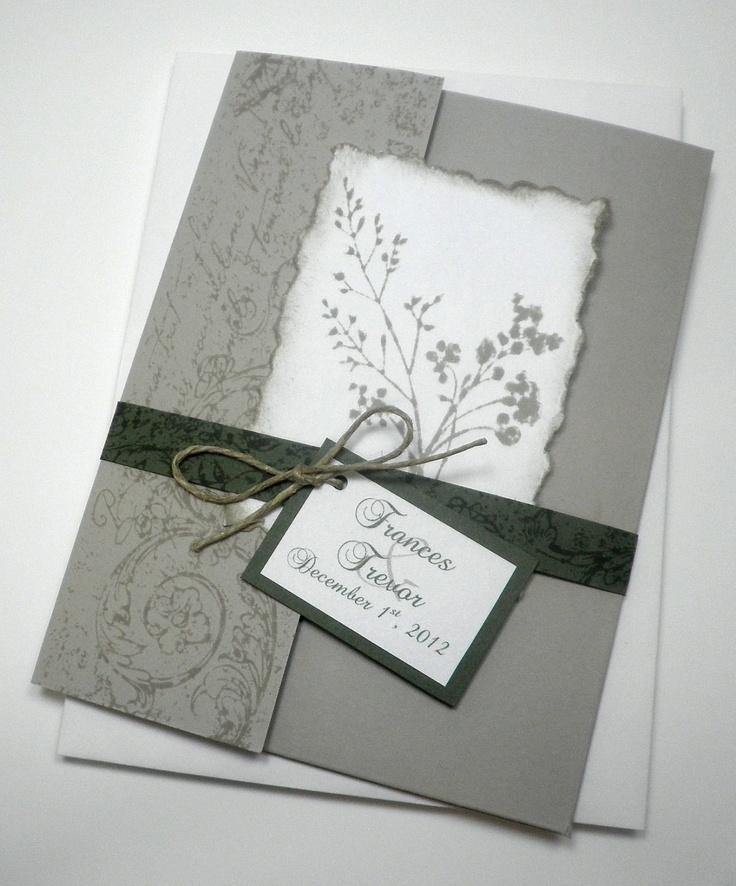 Sand Grey Green Garden Fabulous Floret Pocketfold Wedding Invitation Pocket Fold. $4.95, via Etsy.