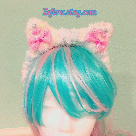 Fairy Kei Pastel Rainbow Kitty Ears And Bows Fluffy by zefora