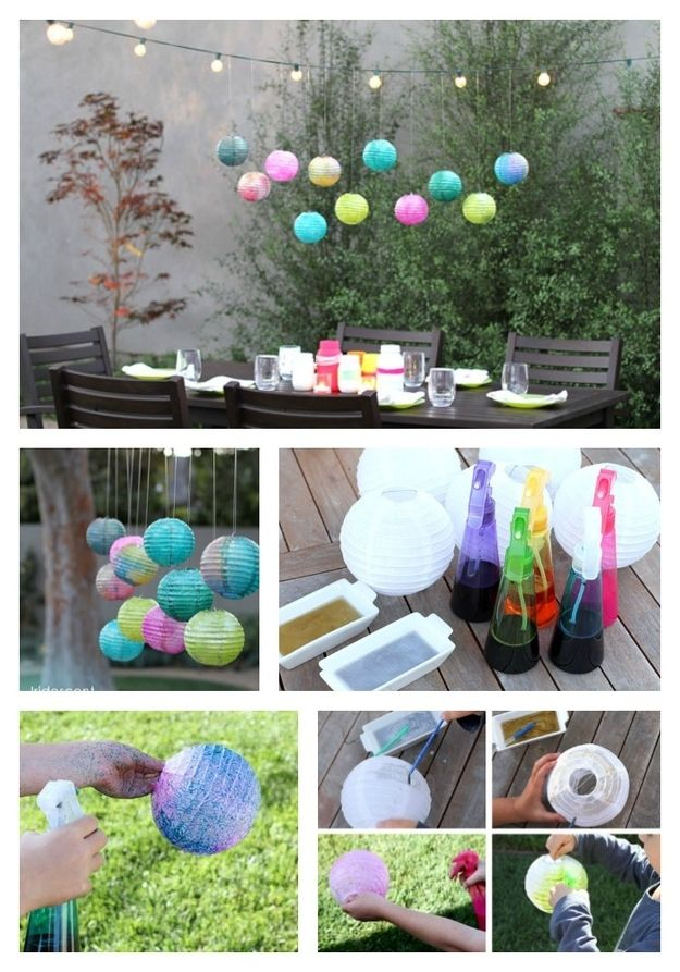 DIY Watercolor Orbes - spray white paper lanterns with watercolor paint to add some color to your outdoor decor.