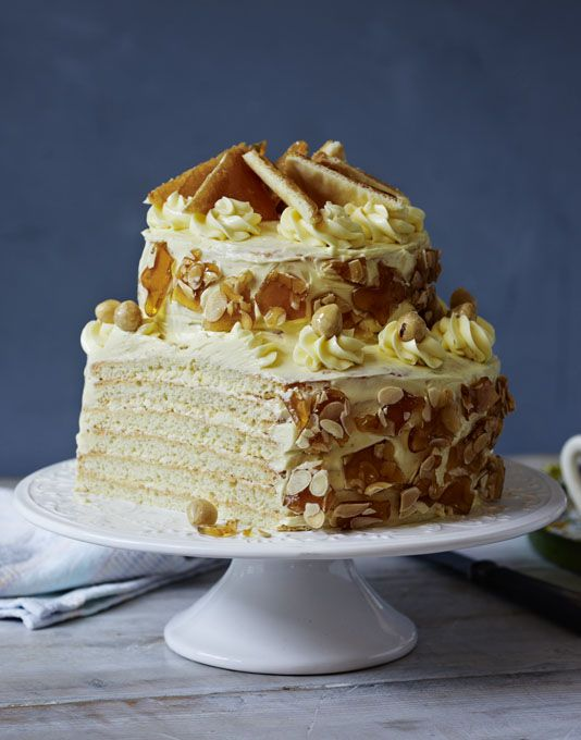 Dobos Torta -   A twist on the Hungarian cake with twelve layers and covered in caramel buttercream