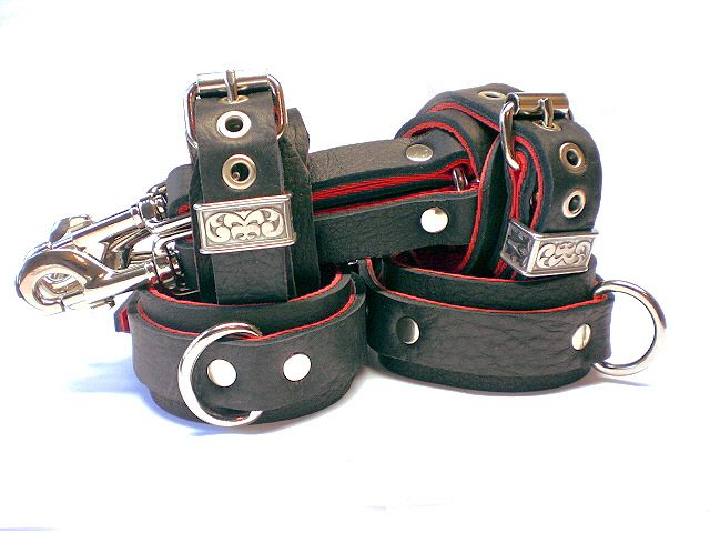 "1-3/4"" Soft Bison w/ Red Bullhide BDSM Restraints Set, 1"" Dee Rings, Hog-tie"
