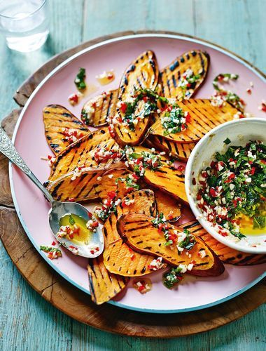 Griddled Sweet Potatoes with Mint, Chilli and Smoked Garlic from Shelina Permalloo's The Sunshine Diet cookbook. This dish can be cooked either on the griddle pan or on the BBQ in the summer. Enjoy hot, warm or cold!
