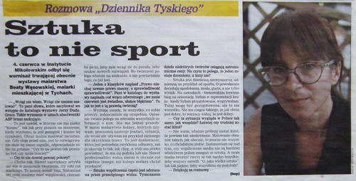 Sztuka to nie sport, Dziennik Zachodni [Tyski]   1997   Bogdan Prejs   malarstwo Beaty Wąsowskiej