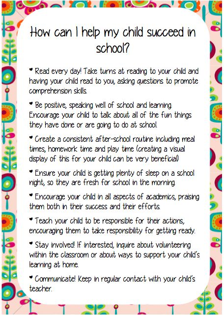 How can I help my child succeed in school? - A helpful start of the year note to parents