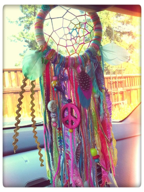 Mini 3.5 Inch Woven Dreamcatcher for Your Rearview Mirror. Dreamcatcher for Your Car. Hippie Rainbow Dreamcatcher with Feathers  Charms