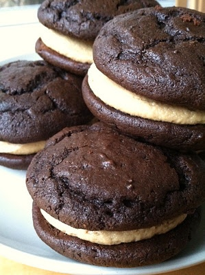 Dark Chocolate Peanut Butter Whoopie Pies. My friends blog give great instructions on how to make these. Looks delicious.
