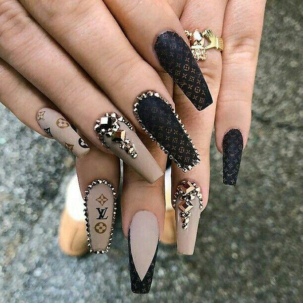 Louis Vuitton Black And Brown Coffin Nails Designer Nails Black And Taupe Coffin Nails Nails2swag Nailsart Gucci Nails Pretty Acrylic Nails Nail Designs