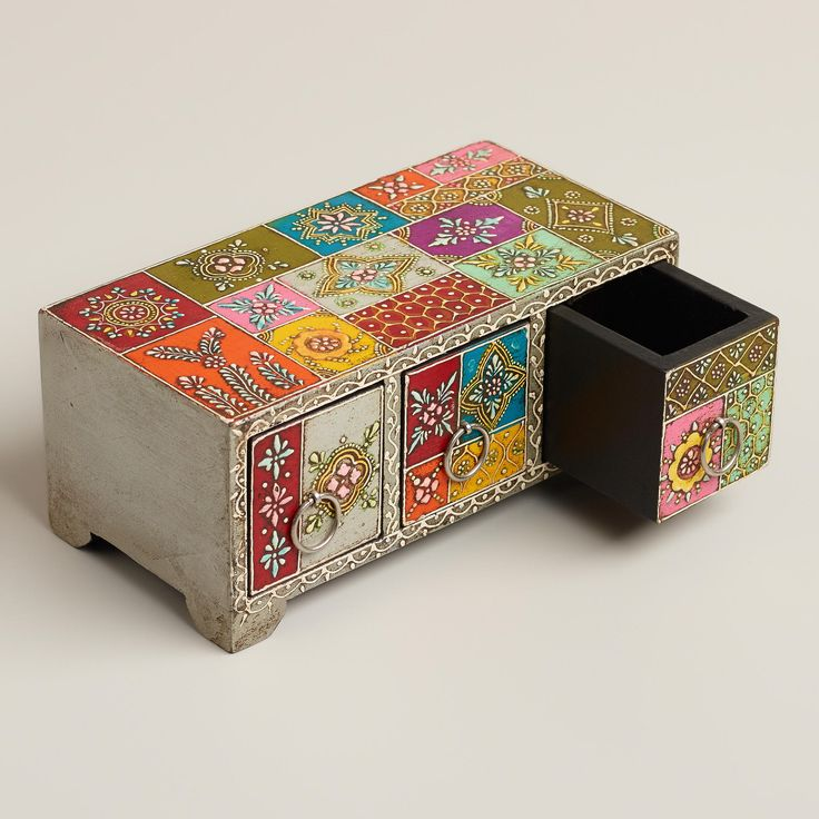 Multicolor Hand-Painted Wood Box | World Market