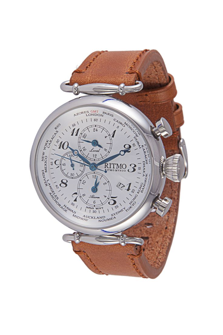 World Time 46mm Stainless Steel Multi -Function Chronograph