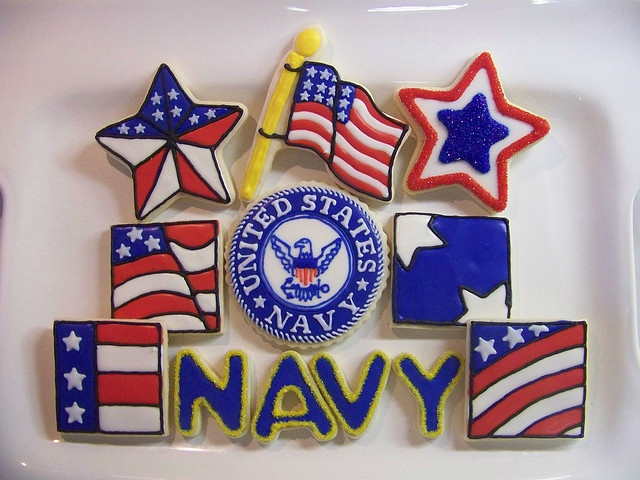 US Navy & flage, crest etc. very adorable with black outlines.