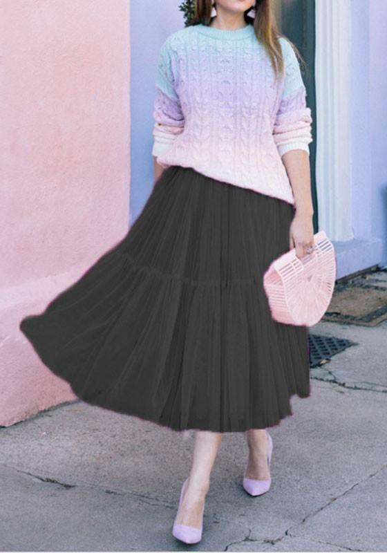 f5d9e34ddc3864 Black Draped Grenadine Puffy Tulle High Waisted Knee Length Adorable Tutu  Skirt