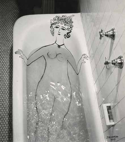 Girl in Bathtub, 1949.  Saul Steinberg.
