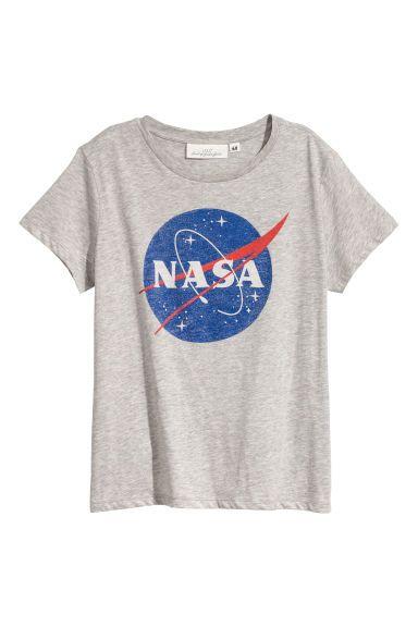 614776a551ef T-shirt avec impression - Gris clair NASA - FEMME
