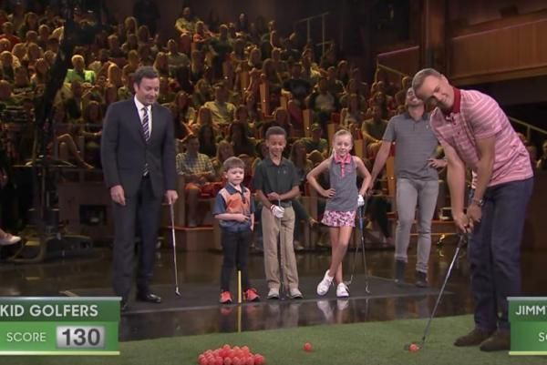They might be rivals in the Presidents Cup, but on Thursday Jason Day and Jordan Spieth teamed up to golf against kids. But they lost.